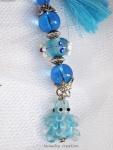 porte clef tortue bleu perle bleu pompon bleu ocean lacaudry creation