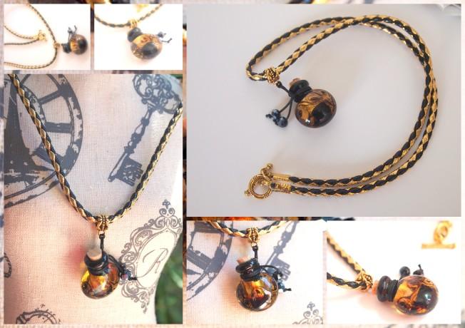 collier aromathérapie noir et or collier noir et or lacaudry creation