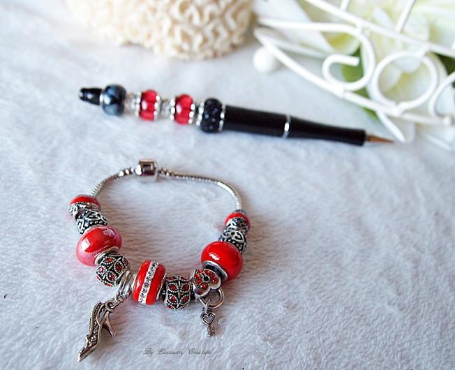 bracelet et stulo pandora pretty girl rouge noir